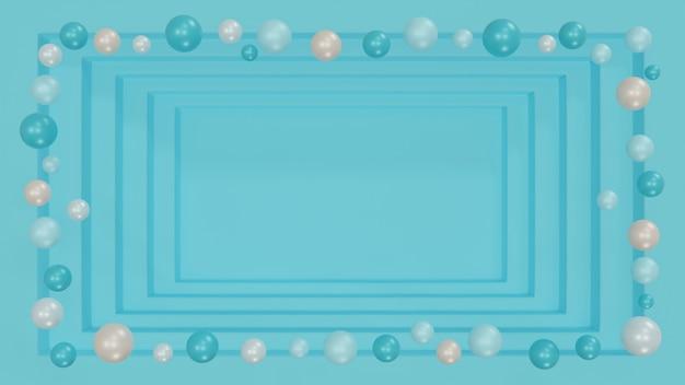Niebieska kwadratowa rama perspektywiczna głębokość kroku wewnątrz ozdobiona perłowymi pastelowymi kulkami lub bąbelkami unoszącymi się na granicy, świąteczne tło, ilustracja 3d