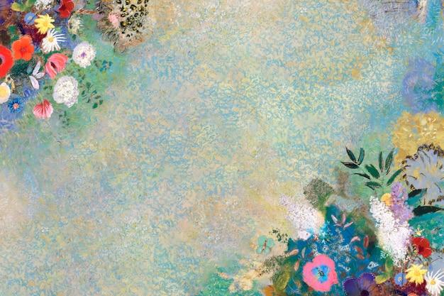 Niebieska kwiecista ściana teksturowana w tle