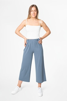 Niebieska linia luźnych spodni odzież damska