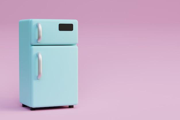 Niebieska lodówka z metalowymi uchwytami na różowym tle renderowania 3d