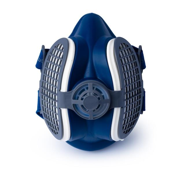 Niebieska maska respiratora na białym tle