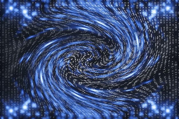 Niebieska matryca cyfrowa. zniekształcona cyberprzestrzeń. postacie spadają w tunelu czasoprzestrzennym. zhakowana matryca. projektowanie rzeczywistości wirtualnej. złamanie danych złożonych algorytmów. cyjanowe iskry cyfrowe.