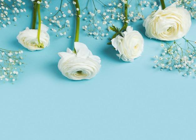 Niebieska moda, kwiaty płasko leżały tło