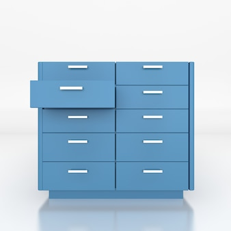 Niebieska niska szafka. renderowanie 3d