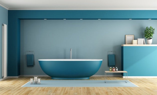 Niebieska Nowoczesna łazienka Z Wanną Premium Zdjęcia