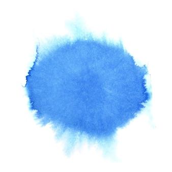 Niebieska okrągła plama akwarela. abstrakcyjne tło. miejsce na własny tekst. ilustracja rastrowa