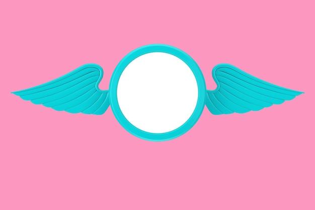 Niebieska plakietka ze skrzydłami i wolnym miejscem na twój projekt na różowym tle. renderowanie 3d