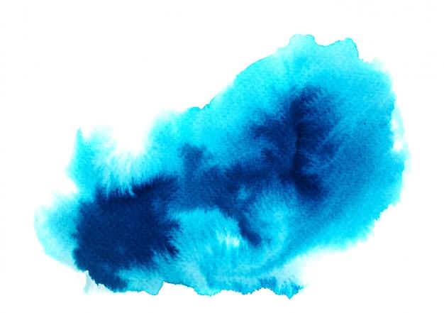 Niebieska plama akwarela na białym tle