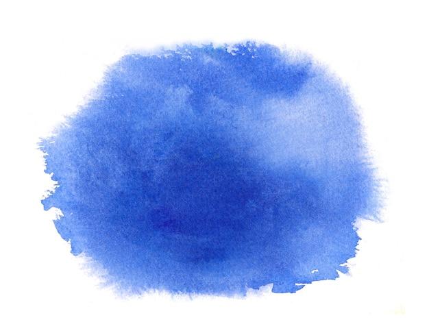 Niebieska plama akwarelowa z pociągnięciem farby akwarelowej, plamami, zmywaniem krawędzi