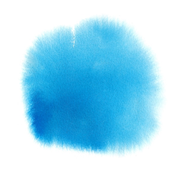 Niebieska plama tekstury akwareli z rozmazaniem farby w kolorze wody, pociągnięciami pędzla