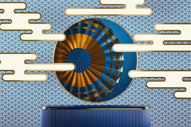 Niebieska platforma na tle w stylu japońskim w złotej ramie i niebieskim chińskim wzorze rybich łusek