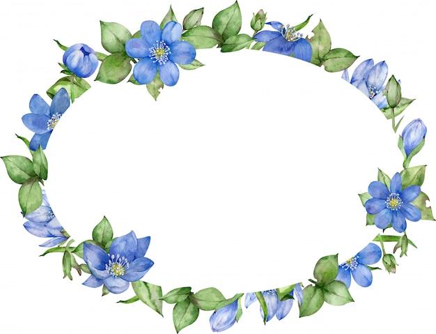 Niebieska ramka w kwiaty. zaproszenie na ślub i kartka urodzinowa. ręcznie rysowane ilustracji akwarela.