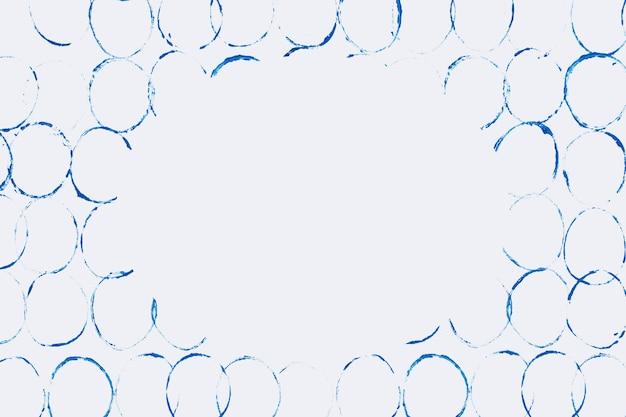 Niebieska ramka z blokiem bąbelków na szarym tle