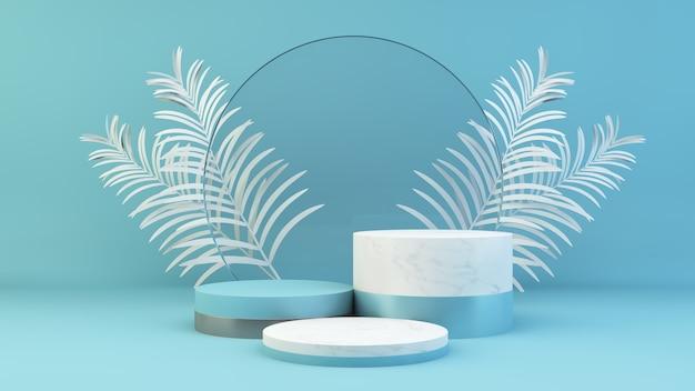 Niebieska scena prezentacji produktu renderowania 3d