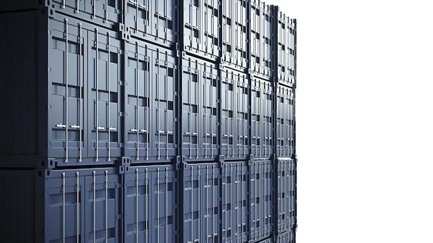 Niebieska ściana kontenerów ładunkowych. wysokiej jakości ilustracja 3d