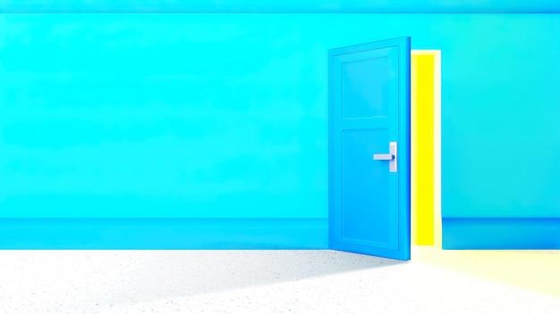 Niebieska ściana z otwartymi drzwiami i jasnym żółtym światłem wpadającym do środka