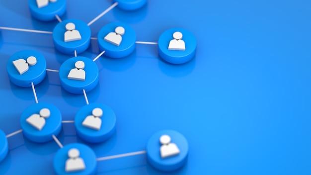 Niebieska sieć społecznościowa łącząca ikonę ludzi. renderowanie 3d