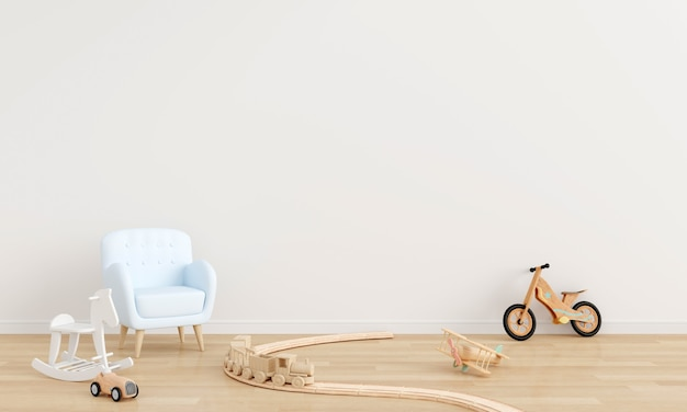 Niebieska sofa i zabawka w białym wnętrzu pokoju dziecięcego z renderowaniem 3d w przestrzeni kopii