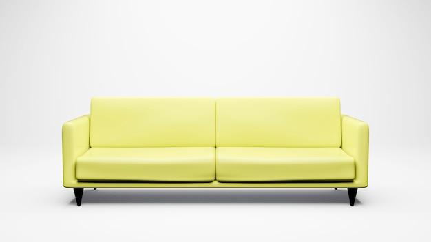 Niebieska sofa renderowania 3d na białym,