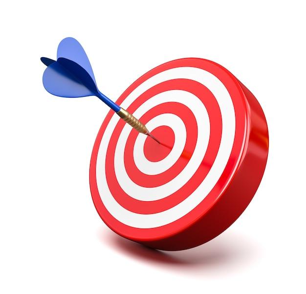 Niebieska strzałka uderza w czerwony cel na środku