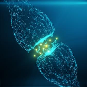 Niebieska świecąca synapsa. sztuczny neuron w koncepcji sztucznej inteligencji. synaptyczne linie transmisyjne impulsów. abstrakcyjna przestrzeń wielokątna low poly z łączącymi się kropkami i liniami, rendering 3d
