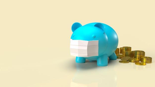 Niebieska świnia i maska do renderowania 3d treści biznesowych lub zdrowotnych