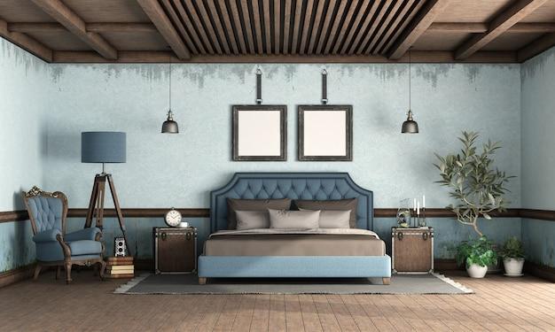 Niebieska sypialnia w stylu retro z podwójnym łóżkiem w stylu klasycznym
