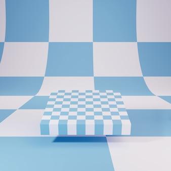 Niebieska Szachownica Na Tle W Kratkę, Ilustracja 3 D, Render Premium Zdjęcia