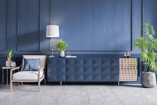 Niebieska szafka z białym fotelem oraz lampą roślinno-złotą na granatowej ścianie, renderowanie 3d
