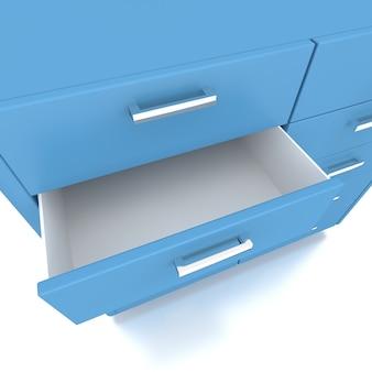 Niebieska szuflada niskiej szafki. renderowania 3d