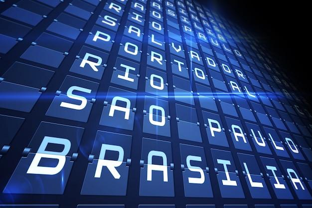 Niebieska tablica odlotów dla dużych miast południowoamerykańskich