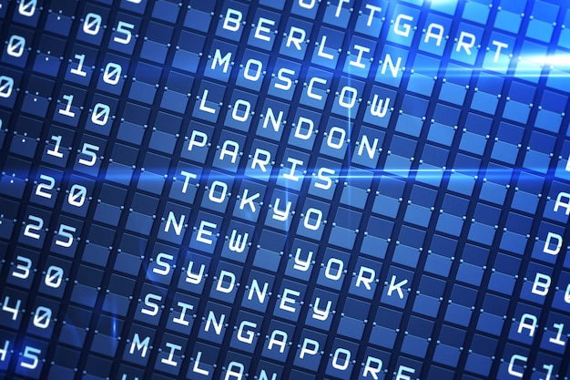 Niebieska tablica odlotów w dużych miastach