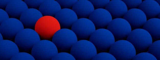 Niebieska tekstura z powtarzającymi się okrągłymi guzkami, koncepcja przywództwa, renderowanie 3d, obraz panoramiczny