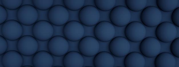 Niebieska tekstura z powtarzającymi się okrągłymi wypukłościami, renderowanie 3d, obraz panoramiczny
