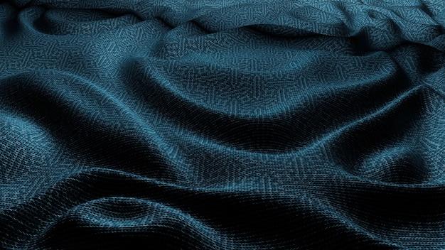 Niebieska tkanina tkanina fale tekstura tło.