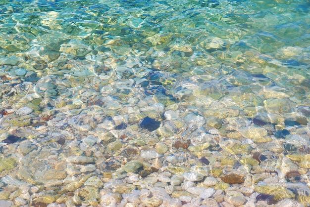 Niebieska tropikalna woda z odbiciami słonecznymi