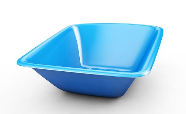 Niebieska umywalka z tworzywa sztucznego na białym tle, renderowanie 3d