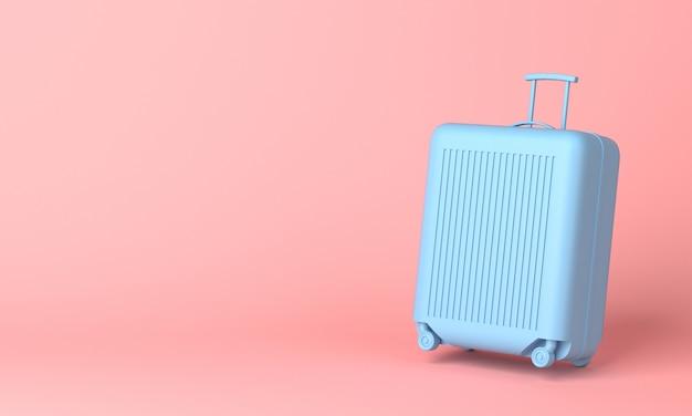 Niebieska walizka na różowym tle z miejsca na kopię. renderowania 3d.