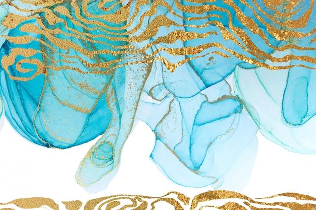 Niebieski abstrakcyjny wzór ze złotymi falami. akwarela tekstury w stylu oceanu.
