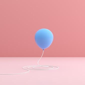 Niebieski balon na różowej przestrzeni w minimalistycznym stylu.