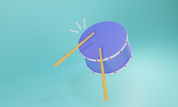 Niebieski bęben renderujący projekt 3d