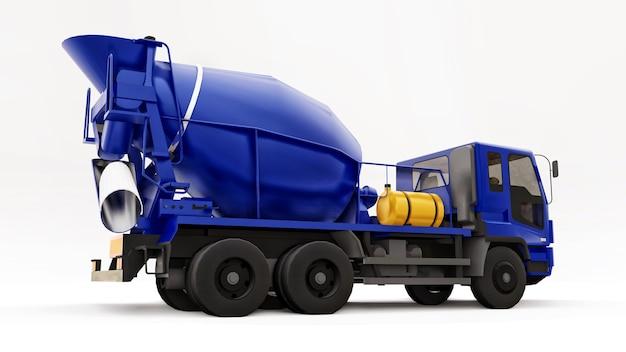 Niebieski betoniarka ciężarówka białe tło. trójwymiarowa ilustracja sprzętu budowlanego. renderowania 3d.