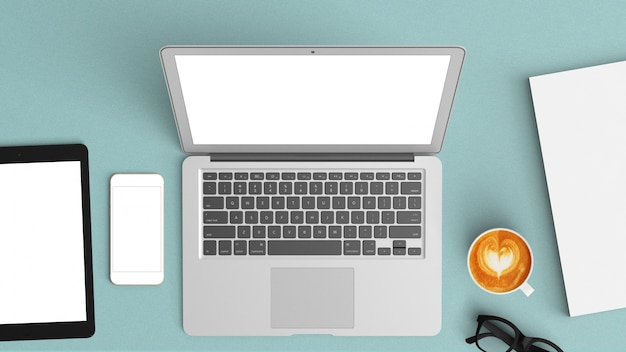Niebieski biurko z tabletu i laptopa