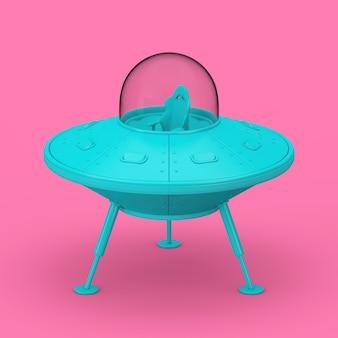 Niebieski cute spaceship cartoon ufo w stylu bichromii na różowym tle. renderowanie 3d