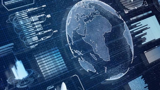 Niebieski cyfrowy hologram skanujący informacje o świecie ziemi hud