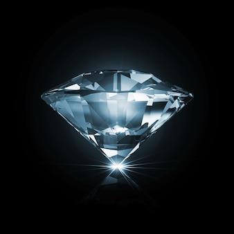 Niebieski diament na czarno ze świecącymi promieniami na białym tle