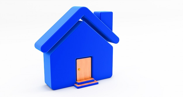 Niebieski dom na białej ścianie. pomysł na koncepcję nieruchomości