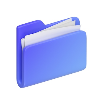 Niebieski folder 3d ilustracja 3d render minimalistyczna ikona 3d