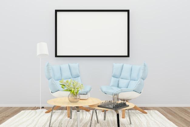 Niebieski fotel kolor poduszka półka salon drewno podłoga tło tekstura lampa