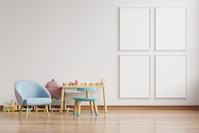 Niebieski fotel w skandynawskim wnętrzu pokoju dziecięcego z plakatami na ścianie.